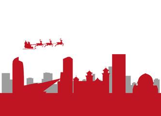 santa flying over the city of denver