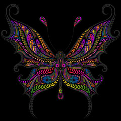 Beautiful color vector butterfly from a variety of patterns on a black background