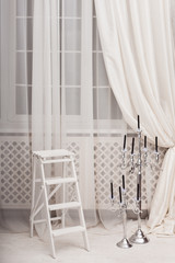 ladder, stepladder, windows, white, interior, hall, living, room, candle, holder, silver, curtaine, nobody, indoor, home, cozy, classic, blach, holiday, background, luxury