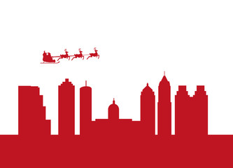 santa flying city by the city of atlanta