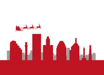 santa flying by city Baltimore City