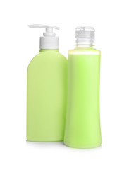 Spa cosmetic bottles on white background
