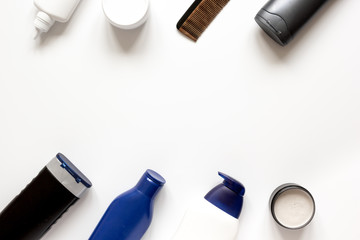 cosmetics for men in bottle on white background top view