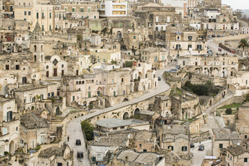 View of old town Sasso Barisano, Matera, Italy