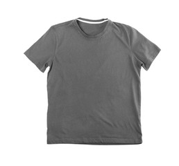 Grey blank t-shirt on white background