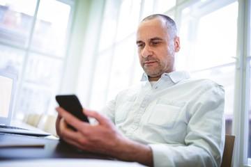 Serious businessman using mobile phone