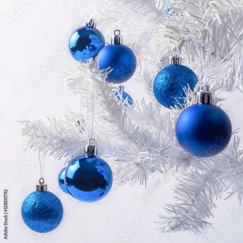 White Christmas Tree Blue Ornaments : Quot white christmas tree branch with royal blue ornaments stock photo and royalty free images on