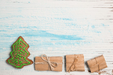 Creative Christmas decoration as background with copy space