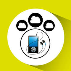 music cloud connection mp3 digital graphic vector illustration eps 10