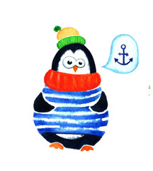 Cute penguin dreams about sea. Cartoon babies and little kids. Watercolor illustration isolated on white background