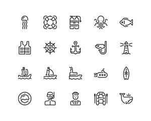 Marine outline style icon set