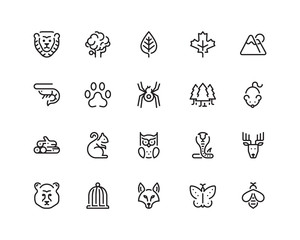 Nature outline style icon set