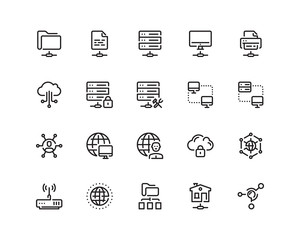 Network outline style icon set