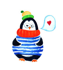 Cute penguin dreams about love. Cartoon babies and little kids. Watercolor illustration isolated on white background