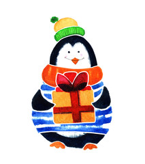 Cute penguin with gift. Cartoon babies and little kids. Watercolor illustration isolated on white background
