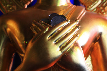 buddha hand statue in the Temple