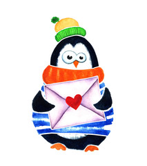 Cute penguin with heart and envelope dreams about love. Cartoon babies  little kids. Watercolor illustration isolated on white background