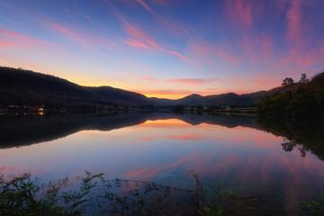 Beautiful view of lake (Khao wong resevoir) in morning