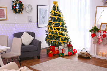 Interior of living room decorated for Christmas