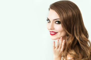 Beautiful Fashion Model with make up, Perfect Fresh Skin and Long Eyelashes