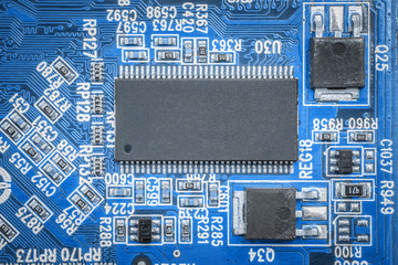 Closeup of a printed circuit board, integrated circuits
