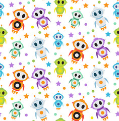 Estores personalizados infantiles con tu foto Cute kids seamless pattern robot rocket. Children endless background, texture, wallpaper. Vector illustration