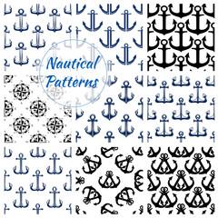 Fond de hotte en verre imprimé Hibou Nautical navy seamless patterns set