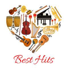 Best hits heart vector icon of musical instruments