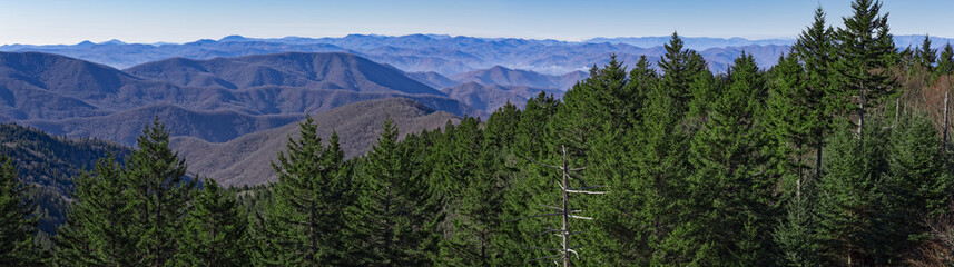 Panoramic view from the Blue Ridge Parkway near Great Smoky Mountains National Park, North Carolina, USA