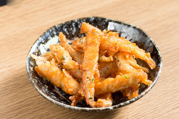 Japanese cuisine, fried small fish called wakasagi