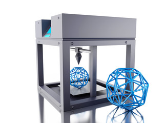 3D Three dimensional printer.