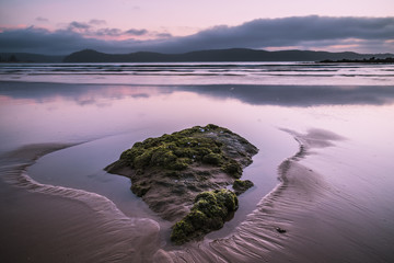 Pink seascape at the beach