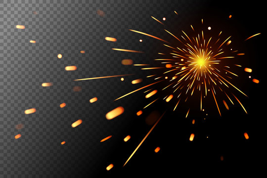 Sparks effect on transparent background. Glow special effect