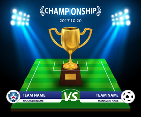 Trophy and information soccer board and football background