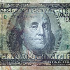 Macro shot of a 100 dollar. Transparent bill
