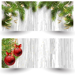 Christmas design with fir tree on wooden background. Web banner template.