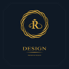 Gold Emblem of the weaving circle. Monogram design elements, graceful template. Simple logo design Letter R for Royalty, business card, Boutique, Hotel, Heraldic, Web design. Vector illustration