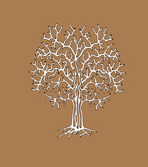 The monotonous silhouette of the tree. Vector illustration useful as a background (patterned branches) or addition to any composition.