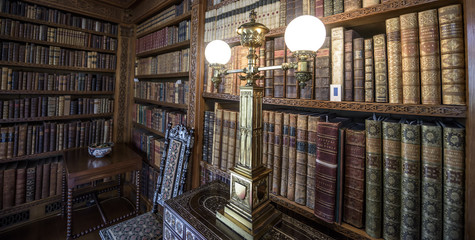 Very old library, 16th Century bookshelves with old fashioned light
