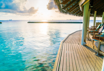 Vacation seat in tropical Maldives island and beauty of the sea