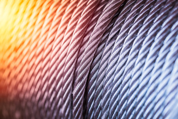 hot steel, clean new steel cable steel wire or steel rope, rope sling drum with heat effect.