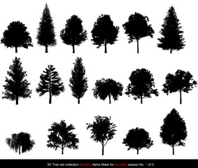 Silhouette Shadow black tree or alpha mask of Tree Summer season set for architecture landscape design, 3D Tree isolated on white No.1
