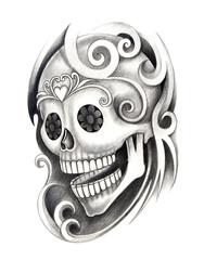 Art design skull head mix graphic tribal tattoo hand pencil drawing on paper.
