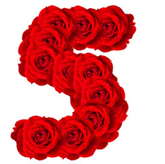 Red Roses numbers 5 made from bloom red rose isolated on white b