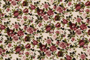 Door stickers Vintage Flowers Colorful Cotton fabric in vintage rose pattern for background or