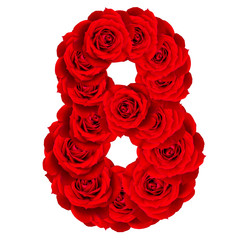 Red Roses numbers 8 made from bloom red rose isolated on white b