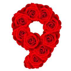 Red Roses numbers 9 made from bloom red rose isolated on white b