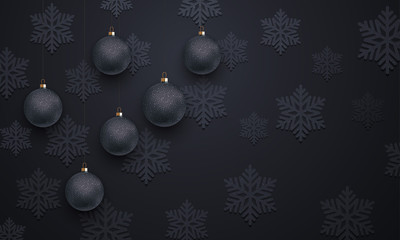Snowflake decoration ball ornament black pattern background Christmas, New Year