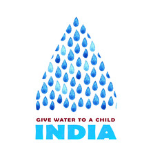 Charity clean Water poster. Social illustration about problems India. Giving donations for Indian children and people. Foundation project. Watercolor hand painted drawing
