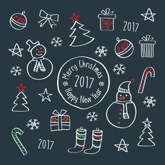 Happy New Year 2017. Merry Christmas. Template for Greeting Congratulations, Invitations. Hand drawing with chalk on the blackboard. Doodles, sketch, design elements. Vector.